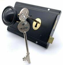 Traditional Black Retro Rim Sash Lock + Plastic Door Knob Kit Latch Cottage Door