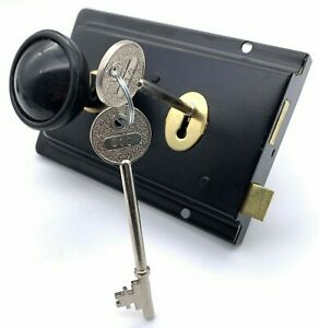 Black Rim Lock Sash lock + Plastic Door Knob Kit Latch Retro Traditional Cottage