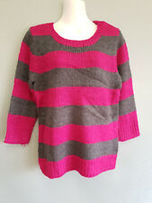 BNWT Ladies Sz Large Forever 21 Hot Pink Charcoal Stripe Long Sleeve Knit Jumper