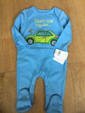 Mothercare Age 6-9 Months That's Not My Car Blue Baby Grow Bnwt