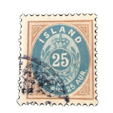 ICELAND, SCOTT # 29, 25a. VALUE BROWN & BLUE 1900  ISSUE USED