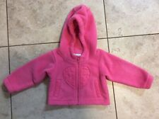 COLUMBIA Pink Heart Hooded Fleece JACKET ~ Infant 6 M Months ~ Full Zip