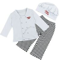 Baby Boy Girl Chef Cook Party Costume Fancy Dress Long Sleeve Outfit Clothes+Hat