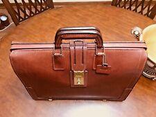 SCHLESINGER  Vintage Brown Belting Leather Lawyer / Doctor / Scholar Briefcase