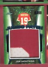 JOE MONTANA LEAF 2018 Leaf JUMBO GAME USED JERSEY PATCH CARD #d5/5 49ers IN GAME