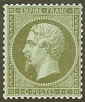 "FRANCE STAMP TIMBRE N° 19 "" NAPOLEON III 1c OLIVE DENTELE 1862 "" NEUF xx TB"