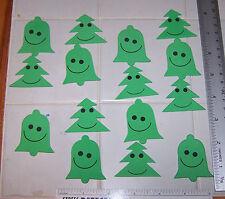Lot of 15 Foam Shapes Happy Green Christmas Bells & Tree