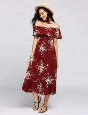 """CONNIE"" GORGEOUS LADIES SIZE 14 WINE RED SUMMER FLORAL OFF THE SHOULDER DRESS"