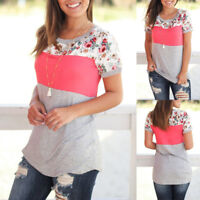 Summer Women's Ladies Casual Fashion Floral splicing Short Sleeve T-shirt Tops