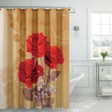 Caroline Red Rose Floral Fabric Shower Curtain
