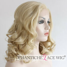 Short Synthetic Hair Front Lace Wigs Blonde Wavy Glueless Full Wig Heat Good UK