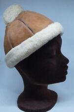 Sheepskin Shearling 8-Panel Hat S-M 22″ /57cm Brown Suede Fleece Brim & Pom