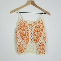 UO PINS & NEEDLES Womens Small Orange Floral Lace Crop Tank Top