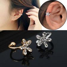 Chic Crystal Rhinestone Starfish Ear Cuff Wrap Cartilage Clip Earring Gold Gift