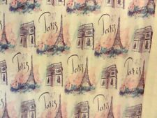 New Paris Teal Blue Pink French Look Flowers~Eiffel Tower fabric Shower Curtain