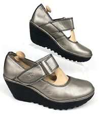 FLY LONDON | Yag Leather Wedge Heel Mary Jane Metallic Lead | Women 37 / 6.5 - 7