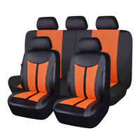 11PCS Universal Car Seat Covers Set Mesh Faux Leather Orange for Truck Suv Van