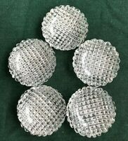 5 Butter Pats  Individual Salts ABP Cut brilliant Crystal sawtooth round 2.5""