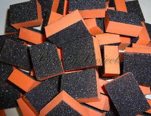40pcs Disposable 80/80 Black Grit Orange Sanding Mini Small Buffer Blocks lot