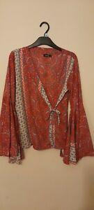 Boohoo 12 boho hippie bell sleeve top shirt summer