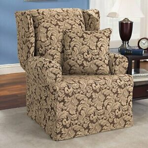 Sure fit Furniture Covers Basics Scroll Brown Wing Chair slipcover