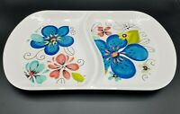 Laurie Gates Melamine Blue Floral Divided Serving Tray