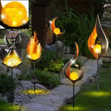 LED Außen Erdspieß Solar Lampen Steck Leuchte Feuer Effekt Deko Garten Leuchten
