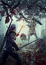 POSTER THE WITCHER 2 3 WILD HUNT WOLF LUPO GERALT OF RIVIA VIDEOGAME FANTASY #12