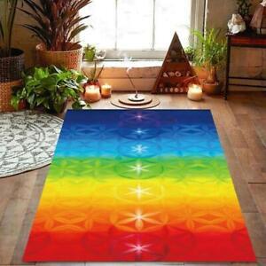 Chakra Rainbow Flower of Life Reiki Meditation Wall or Door Hanging/Throw/Cloth