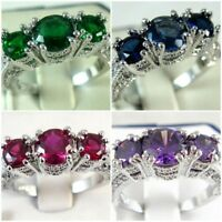 Women Fashion 925 Silver Ruby Ring Wedding Engagement Jewelry Gifts Size 6-10