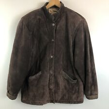 LL Bean Brown Suede Rough Out Leather Trucker Jacket Rare Button Front Mens M