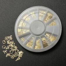 120x 3D Oro Etiqueta Pegatina Clavo Uñas Manicura Nail Arte Tips Decoración Moda