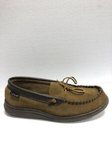 L.B. Evans Men's Atlin, Brown Moccasin Slippers, Size 11 EEE.