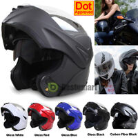 DOT Full Face Flip up Motorcycle Helmet Dual Visor Bike Race Size & Color Option