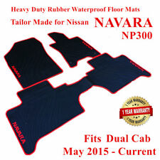 Heavy Duty Rubber Floor Mats Tailored for Nissan NAVARA NP300 05/2015 - 2018 Red