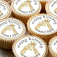 24 icing cake decorations toppers can be personalised giraffe