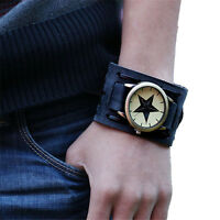 Retro Punk Rock Brown Wide Leather BAND  Bracelet Cuff Fashion Men Casual Watch