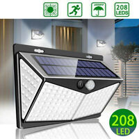 208 LED Solar Power Outdoor Lamp PIR Motion Sensor Waterproof Garden Wall Light