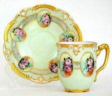 LIMOGES HAND PAINTED ROSES DEMITASSE CUP SAUCER