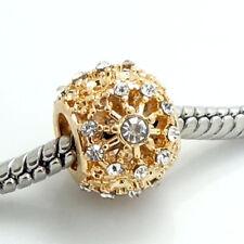 European 1pcs gold CZ Charm Beads Fit 925 Necklace Bracelet jewelry #SH303S