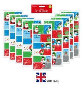120 x STICKY CHRISTMAS GIFT TAGS Kids Xmas Character Labels Santa Elf  G1726 UK