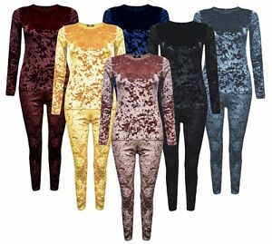 New Womens Jogger Loungewear 2 Piece Co-ordinate Crushed Velour Velvet Tracksuit