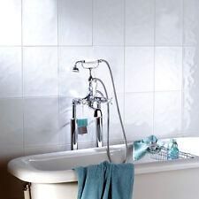 10x10cm Sample of 40x25cm Bumpy White Gloss Ceramic Bathroom Wall Tiles