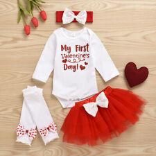 Newborn Baby Girl My 1st Valentine's Day Letter Print Romper Tops Tutu Skirt Set