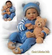 "Ashton Drake ""CALVIN & HIS TEDDY"" LIFELIKE WEIGHTED BABY DOLL -NEW-IN STOCK NOW"