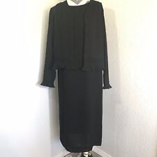 Cynthia Howie for Maggy Boutique 2 piece Black Dress Sheer Button Jacket, Size 8