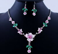 2017 Wedding Jewelry Necklace Earrings Set Flower Bouquet Acrylic Crystal Bridal