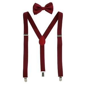 New CTM Men's Solid Fashion Color Bow Tie and Suspender Set