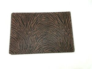"""Graphic Image Placemats Set of 6 Rectangular Leather Shagreen 13x19"""" Brown"""