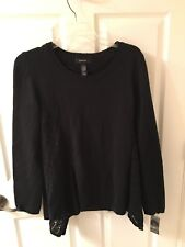 New Style & Co Woman's Pointelle Sharkbite Sweater Deep Black $54 Size L
